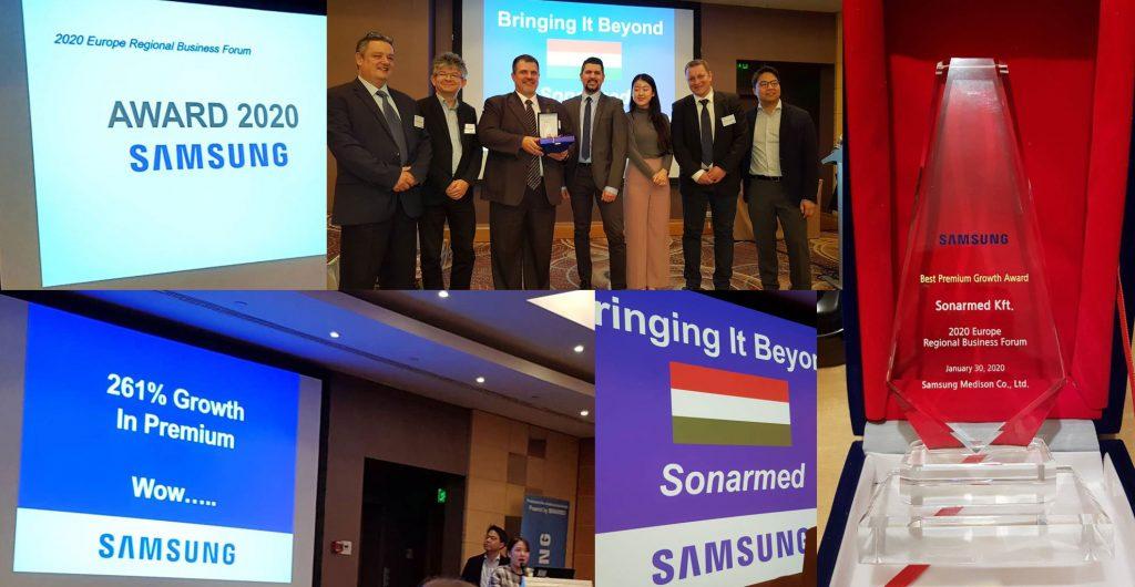 2020 Samsung Regiaonal Business Forum Best Premium Growth Award - SONARMED
