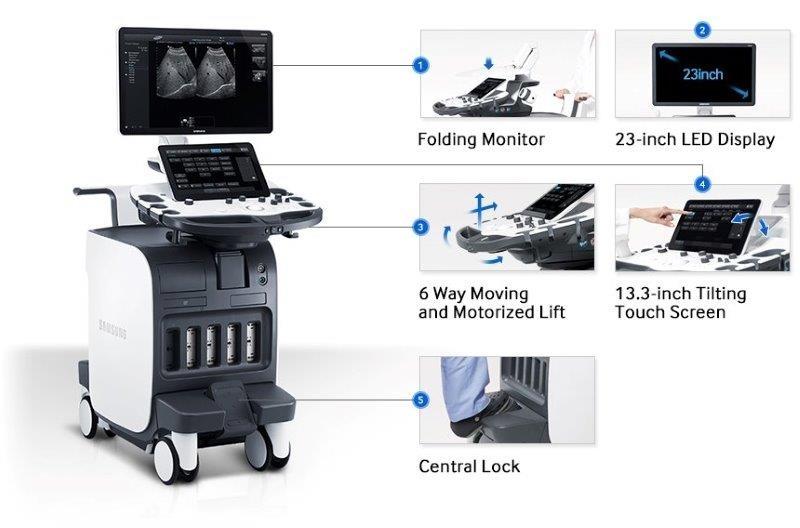 SAMSUNG RS80 Prestige ultrahang készülék ergonómikus kialakítás